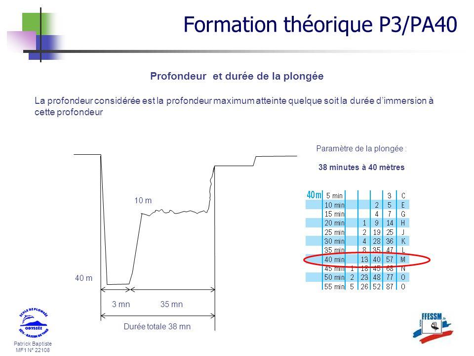 Patrick Baptiste MF1 N° 22108 Profondeur et durée de la plongée La profondeur considérée est la profondeur maximum atteinte quelque soit la durée dimm