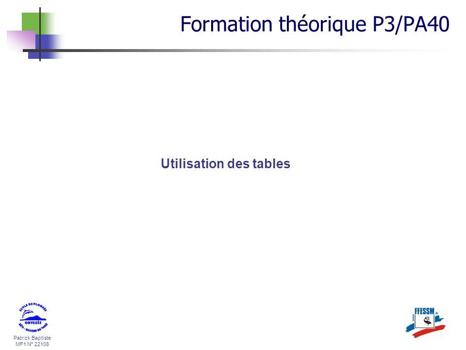 Patrick Baptiste MF1 N° 22108 Utilisation des tables Formation théorique P3/PA40