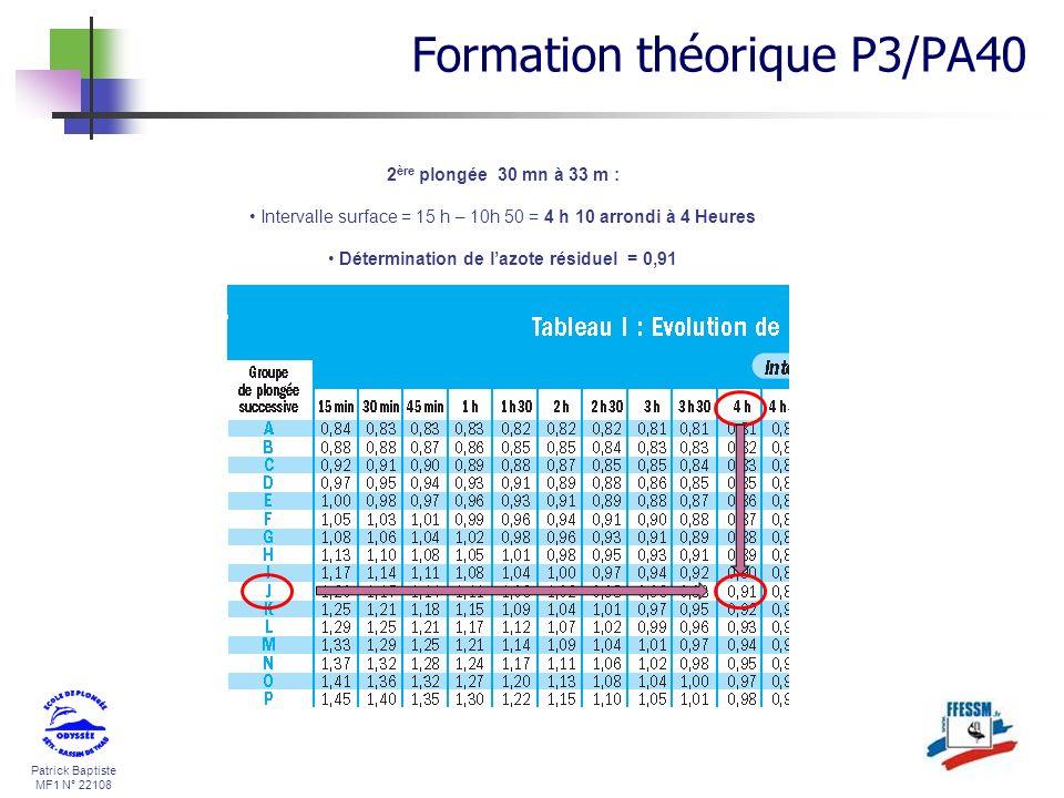 Patrick Baptiste MF1 N° 22108 2 ère plongée 30 mn à 33 m : Intervalle surface = 15 h – 10h 50 = 4 h 10 arrondi à 4 Heures Détermination de lazote rési