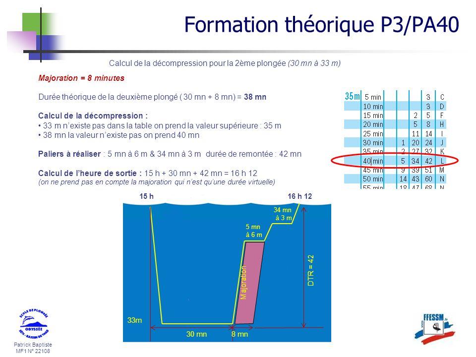 Patrick Baptiste MF1 N° 22108 Calcul de la décompression pour la 2ème plongée (30 mn à 33 m) Majoration = 8 minutes Durée théorique de la deuxième plo