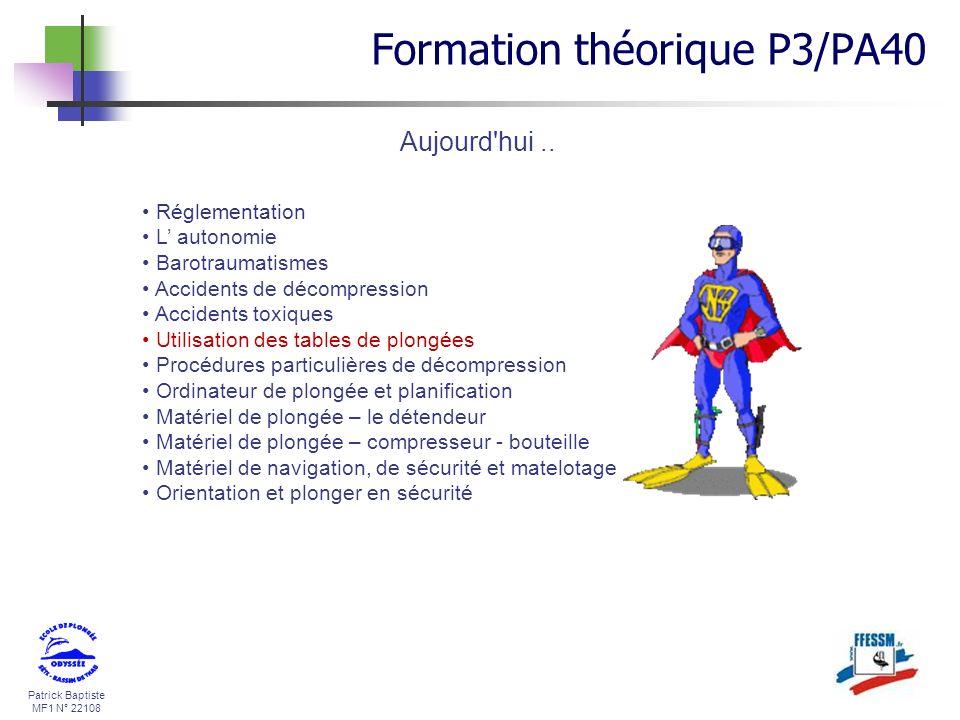 Patrick Baptiste MF1 N° 22108 Aujourd'hui.. Formation théorique P3/PA40 Réglementation L autonomie Barotraumatismes Accidents de décompression Acciden