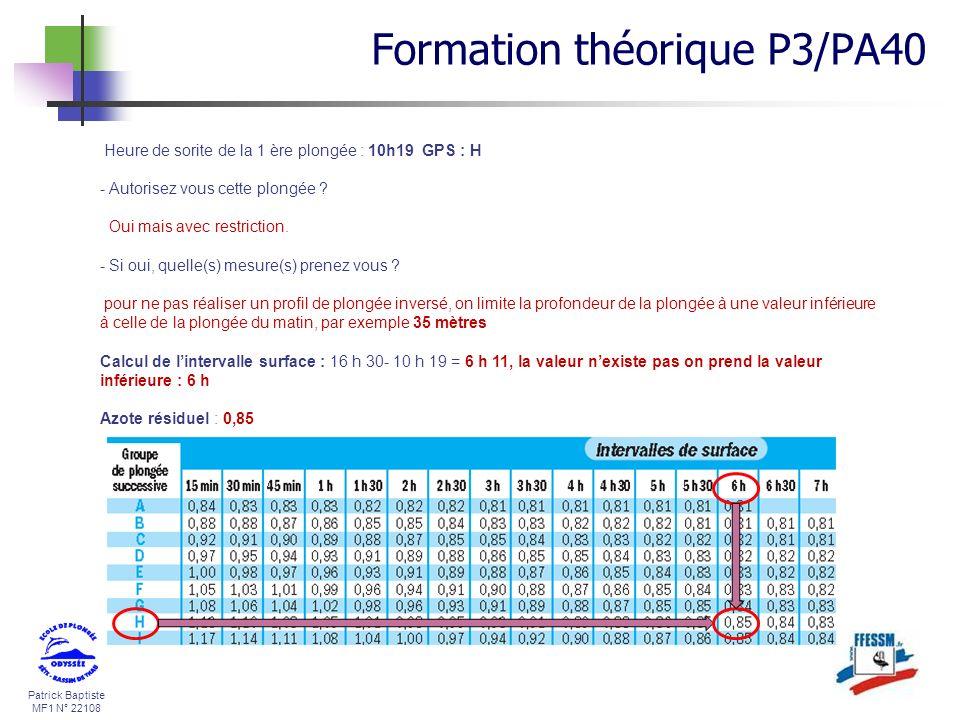 Patrick Baptiste MF1 N° 22108 Heure de sorite de la 1 ère plongée : 10h19 GPS : H - Autorisez vous cette plongée ? Oui mais avec restriction. - Si oui
