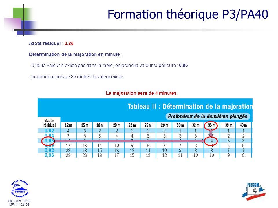 Patrick Baptiste MF1 N° 22108 Azote résiduel : 0,85 Détermination de la majoration en minute : - 0,85 la valeur nexiste pas dans la table, on prend la