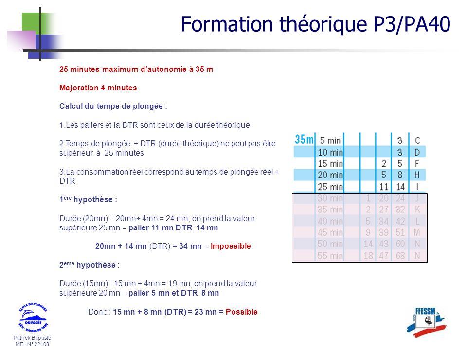 Patrick Baptiste MF1 N° 22108 25 minutes maximum dautonomie à 35 m Majoration 4 minutes Calcul du temps de plongée : 1.Les paliers et la DTR sont ceux