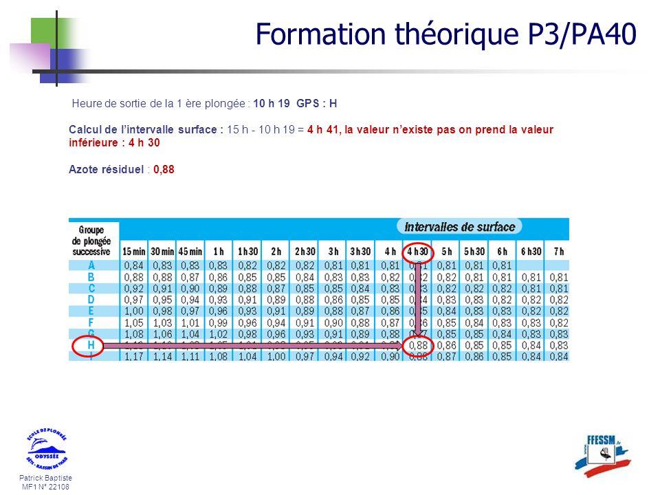 Patrick Baptiste MF1 N° 22108 Heure de sortie de la 1 ère plongée : 10 h 19 GPS : H Calcul de lintervalle surface : 15 h - 10 h 19 = 4 h 41, la valeur