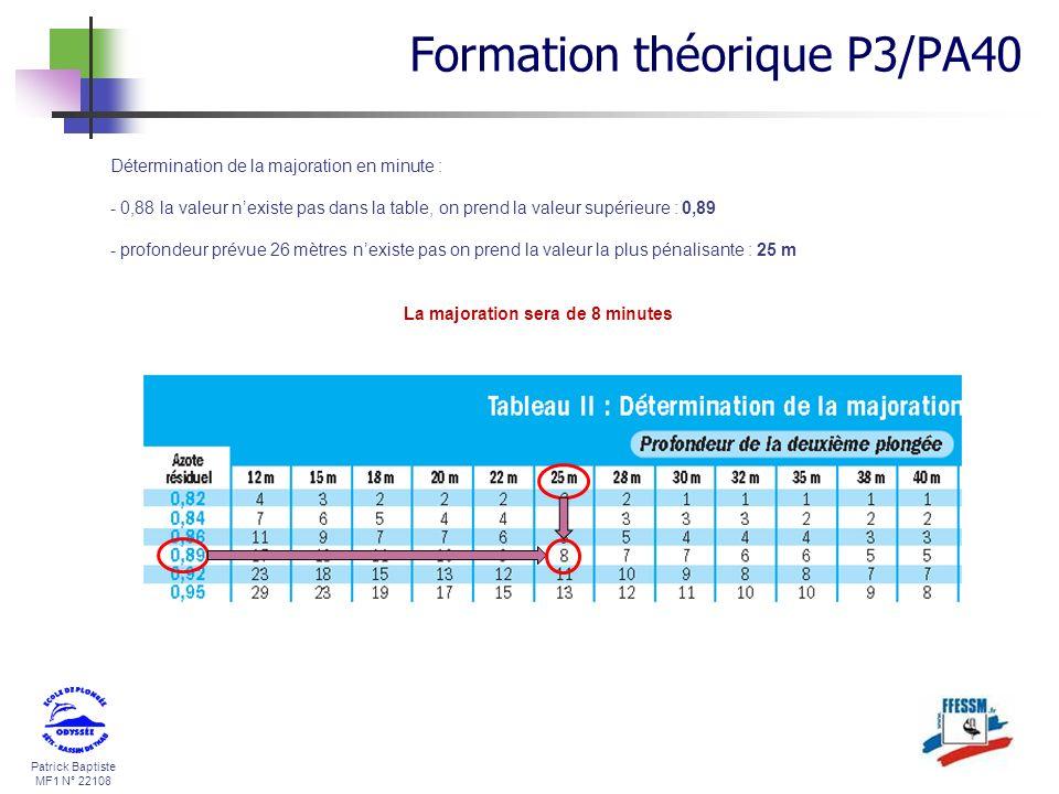 Patrick Baptiste MF1 N° 22108 Détermination de la majoration en minute : - 0,88 la valeur nexiste pas dans la table, on prend la valeur supérieure : 0