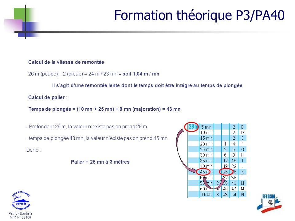 Patrick Baptiste MF1 N° 22108 Calcul de la vitesse de remontée 26 m (poupe) – 2 (proue) = 24 m / 23 mn = soit 1,04 m / mn Il sagit dune remontée lente