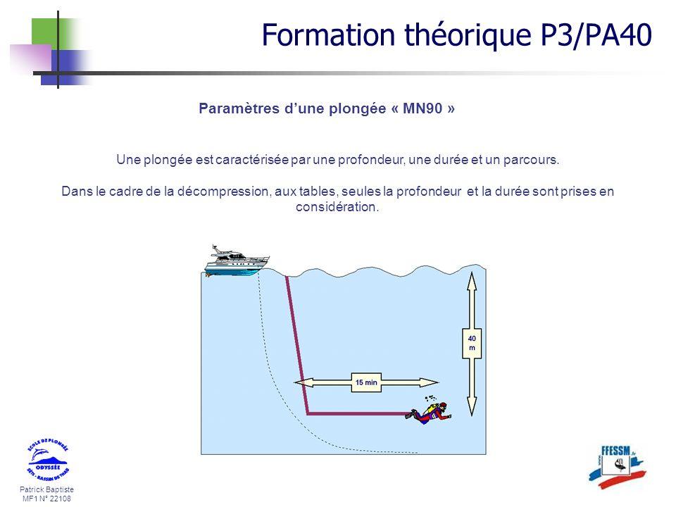 Patrick Baptiste MF1 N° 22108 Paramètres dune plongée « MN90 » Une plongée est caractérisée par une profondeur, une durée et un parcours. Dans le cadr