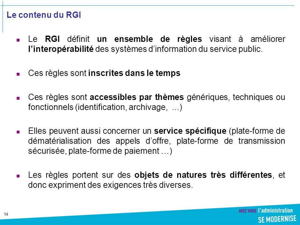 14 Le contenu du RGI Le RGI définit un ensemble de règles visant à améliorer linteropérabilité des systèmes dinformation du service public.
