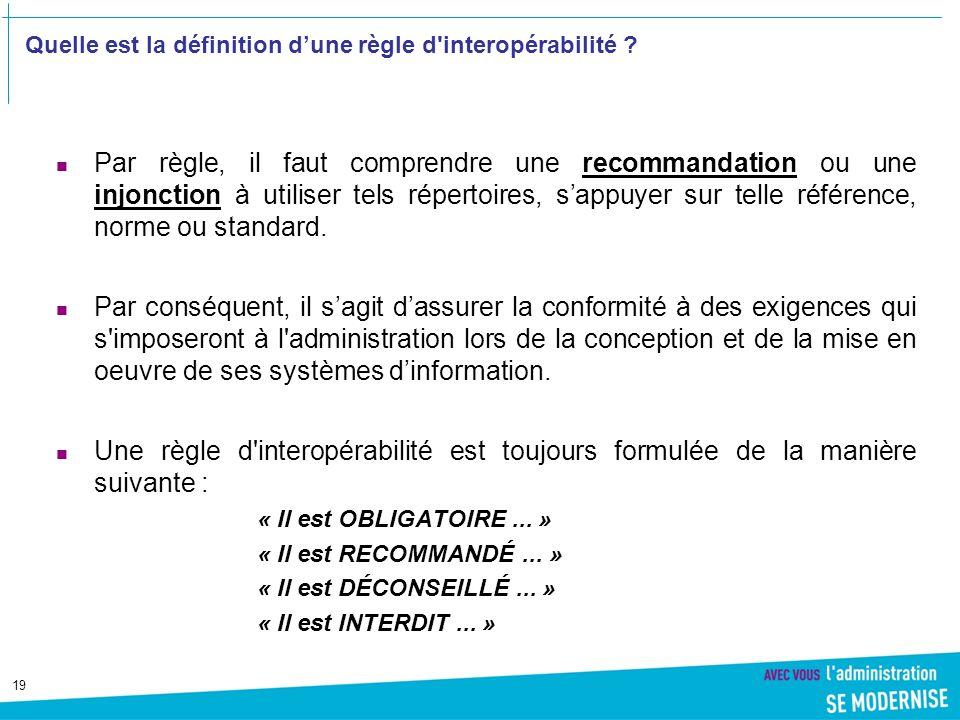 19 Quelle est la définition dune règle d interopérabilité .