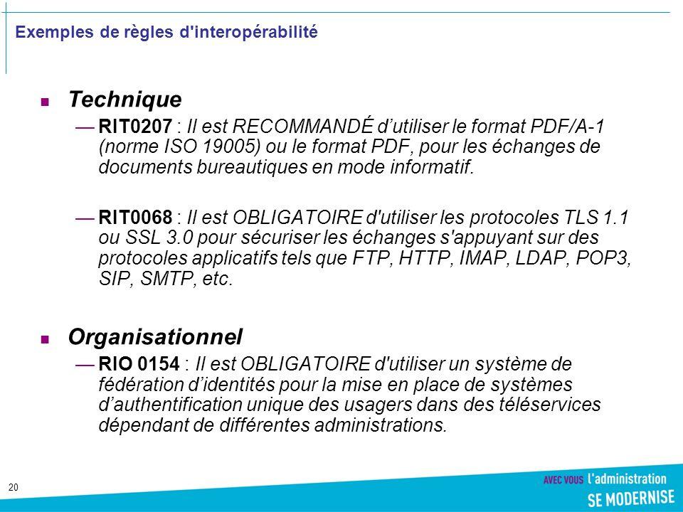 20 Exemples de règles d interopérabilité Technique RIT0207 : Il est RECOMMANDÉ dutiliser le format PDF/A-1 (norme ISO 19005) ou le format PDF, pour les échanges de documents bureautiques en mode informatif.