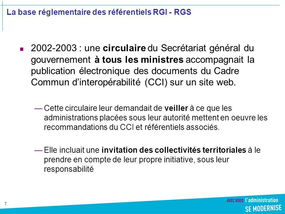 18 Le RGI concerne énonce des règles prenant effet sur les échanges entre administrations ainsi quentre les administrations et les usagers Les échanges concernés par le RGI A = Administrations B = Entreprises C = Citoyens Exemples : A=>B/B=>A : Télé-TVA C=>A/A=>C : Gestion des actes détat civil Entreprises Citoyens C Administrations A Périmètre principal du RGI A C et C A B C et C B A B et B A B A,B ou C Volet Organisation Volet Sémantique Volet Technique