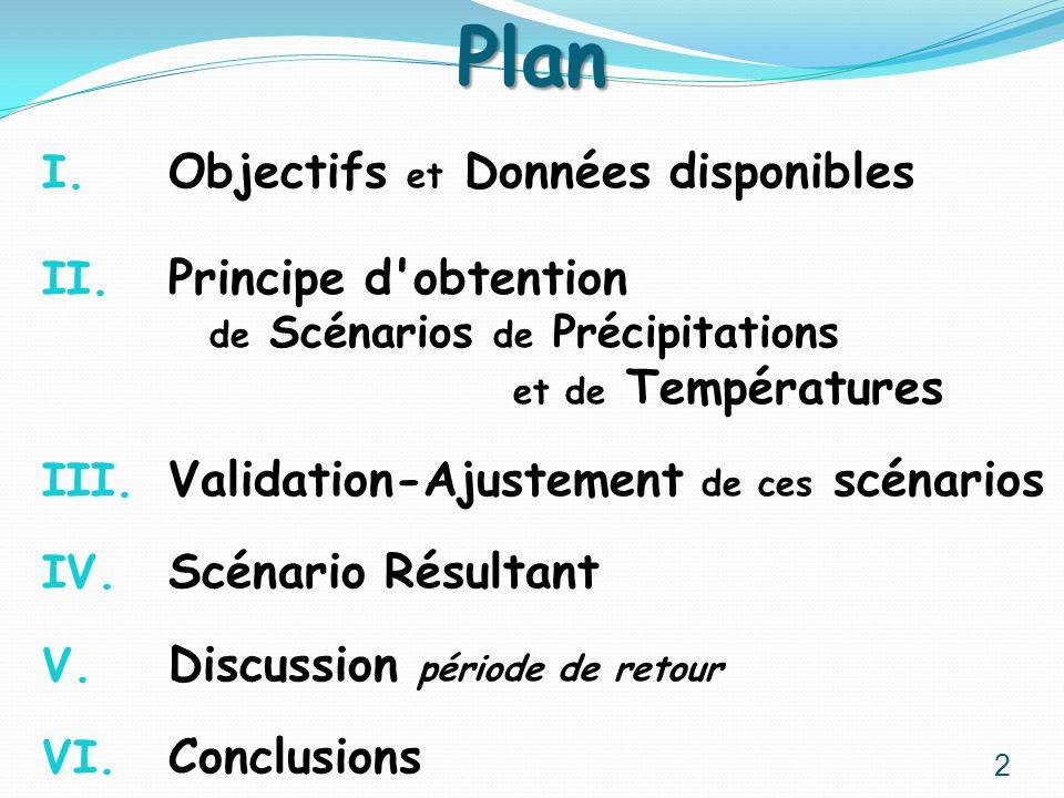 Plan I. Objectifs et Données disponibles II. Principe d'obtention de Scénarios de Précipitations et de Températures III. Validation-Ajustement de ces