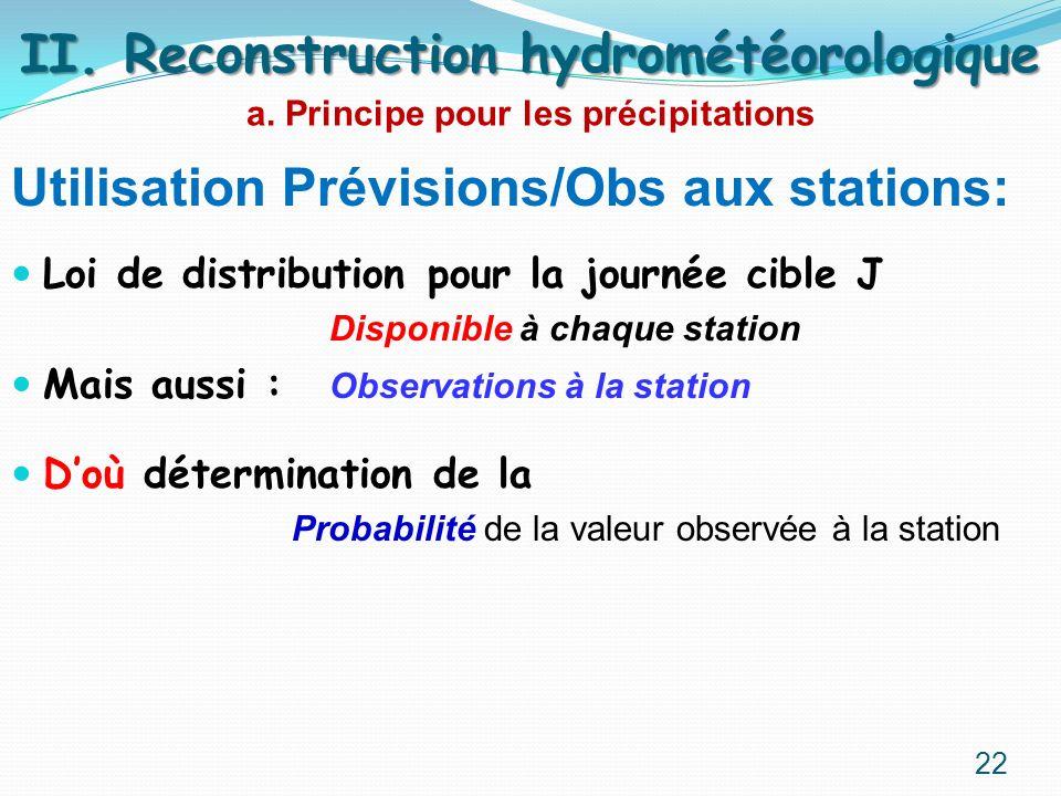Utilisation Prévisions/Obs aux stations: Loi de distribution pour la journée cible J Disponible à chaque station Mais aussi : Observations à la statio