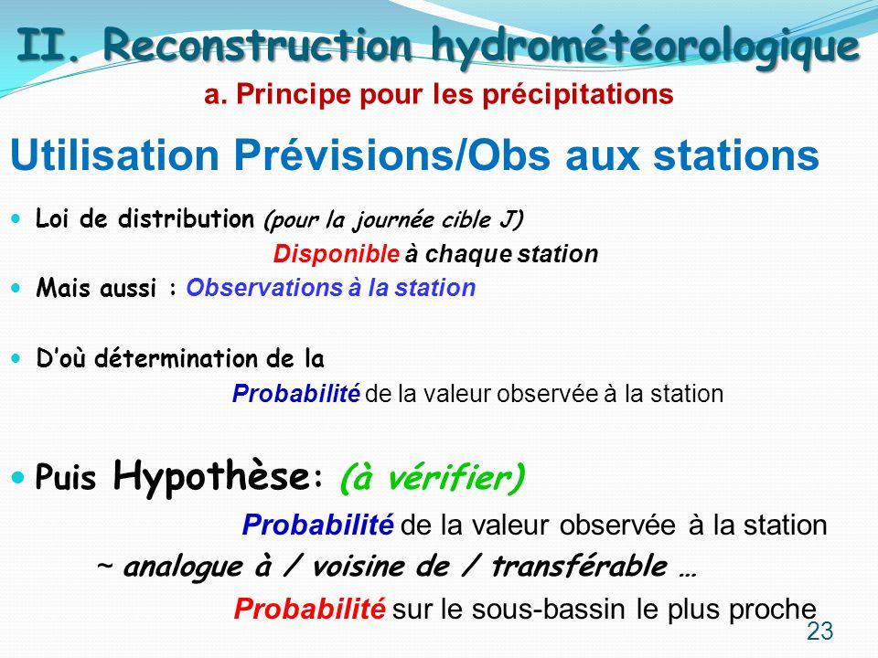 Utilisation Prévisions/Obs aux stations Loi de distribution (pour la journée cible J) Disponible à chaque station Mais aussi : Observations à la stati