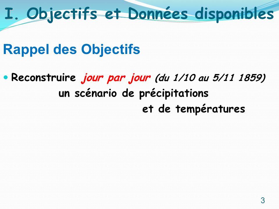 Rappel des Objectifs Reconstruire jour par jour (du 1/10 au 5/11 1859) un scénario de précipitations et de températures I. I. Objectifs et Données dis