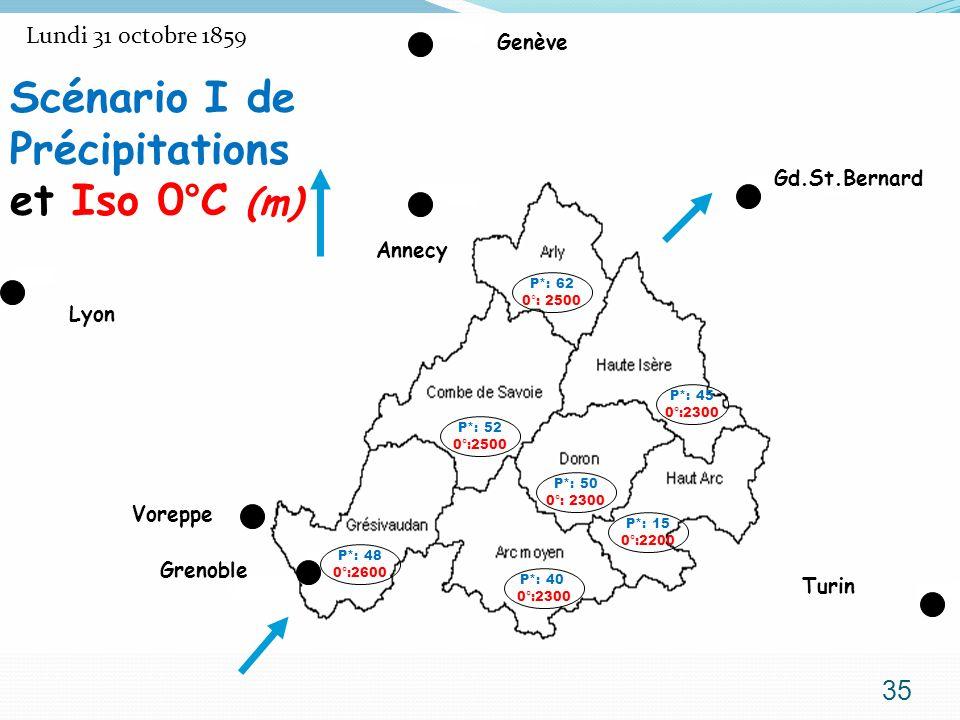 Lundi 31 octobre 1859 Grenoble Lyon Genève Voreppe Annecy Gd.St.Bernard Turin P*: 62 0°: 2500 P*: 45 0°:2300 P*: 15 0°:2200 P*: 52 0°:2500 P*: 50 0°: