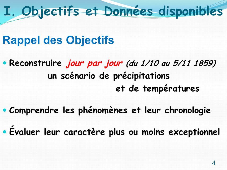 Rappel des Objectifs Reconstruire jour par jour (du 1/10 au 5/11 1859) un scénario de précipitations et de températures Comprendre les phénomènes et l