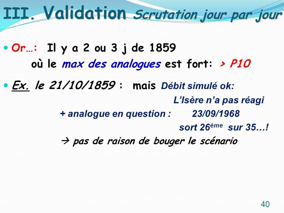 Or…: Il y a 2 ou 3 j de 1859 où le max des analogues est fort: > P10 Ex. le 21/10/1859 : mais Débit simulé ok: LIsère na pas réagi + analogue en quest