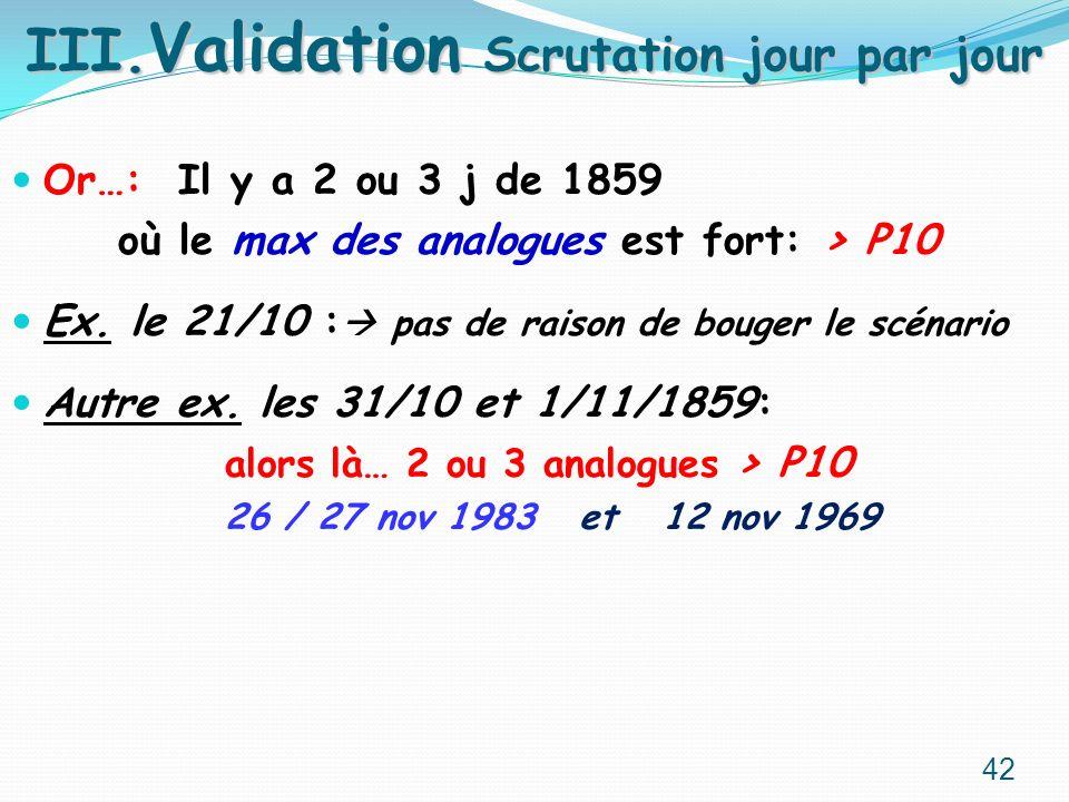 Or…: Il y a 2 ou 3 j de 1859 où le max des analogues est fort: > P10 Ex. le 21/10 : pas de raison de bouger le scénario Autre ex. les 31/10 et 1/11/18