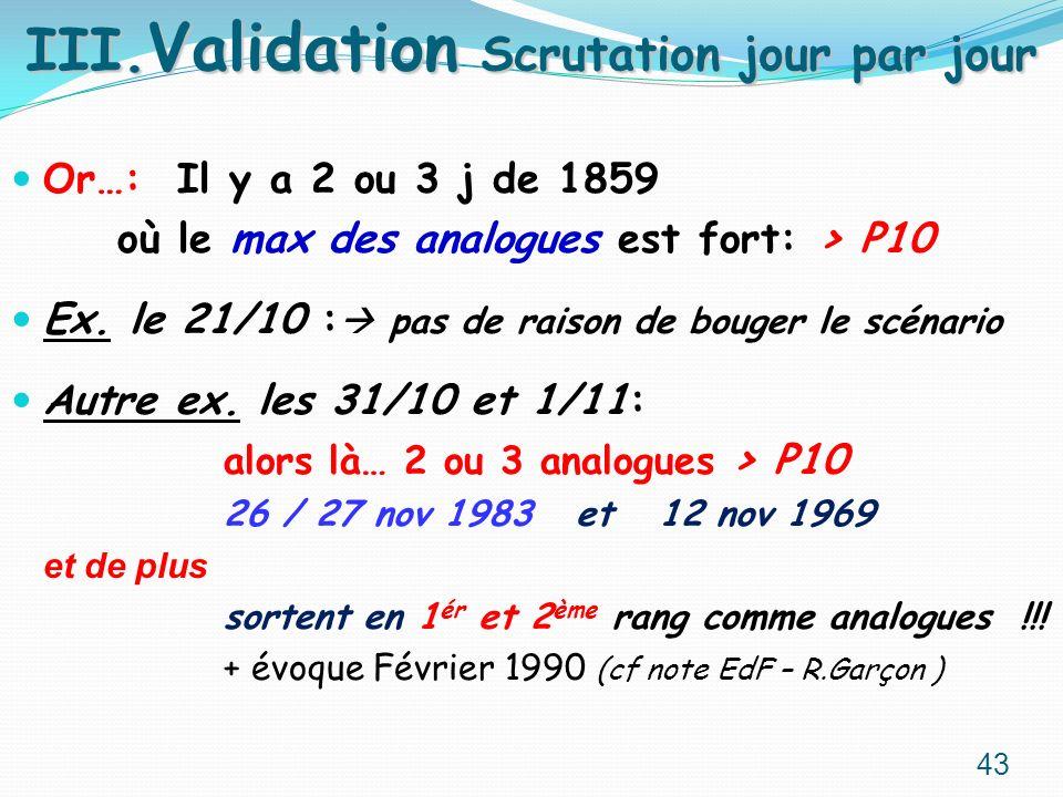 Or…: Il y a 2 ou 3 j de 1859 où le max des analogues est fort: > P10 Ex. le 21/10 : pas de raison de bouger le scénario Autre ex. les 31/10 et 1/11: a
