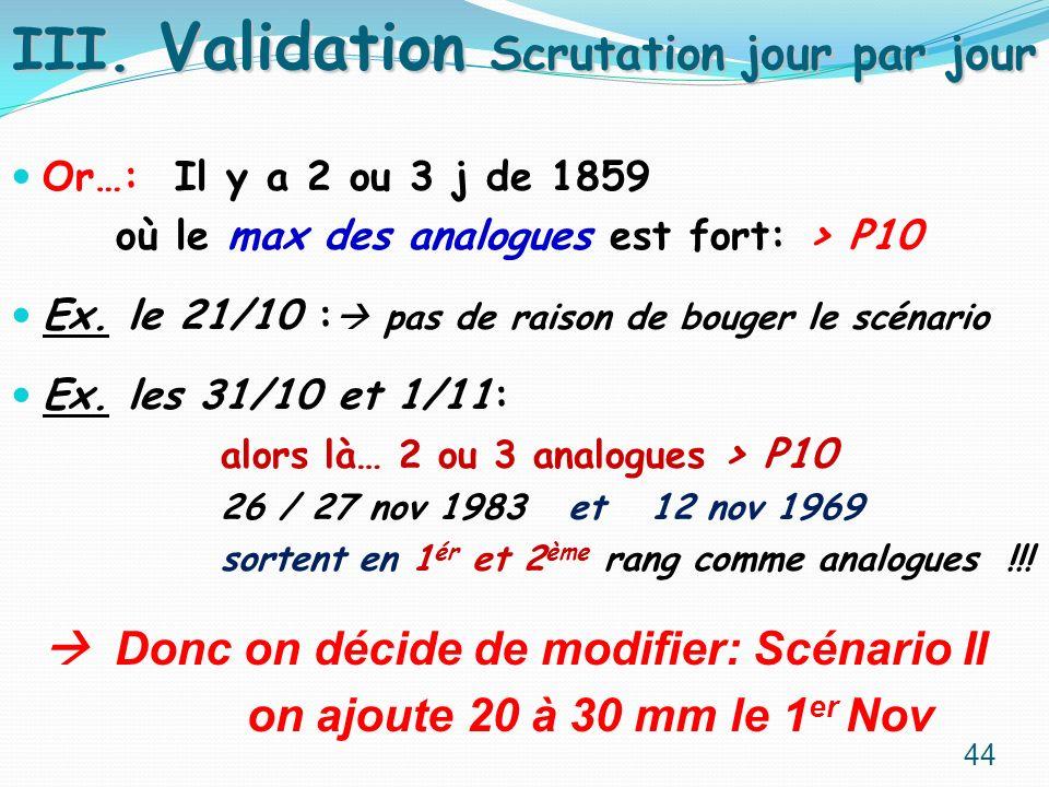 Or…: Il y a 2 ou 3 j de 1859 où le max des analogues est fort: > P10 Ex. le 21/10 : pas de raison de bouger le scénario Ex. les 31/10 et 1/11: alors l