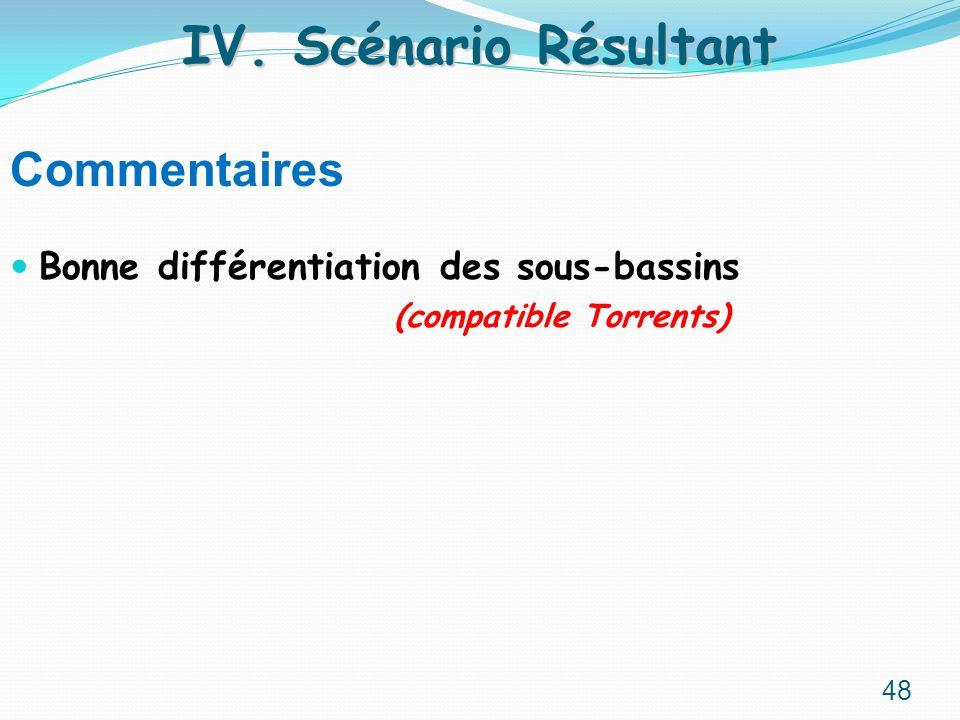Commentaires Bonne différentiation des sous-bassins (compatible Torrents) IV. Scénario Résultant 48