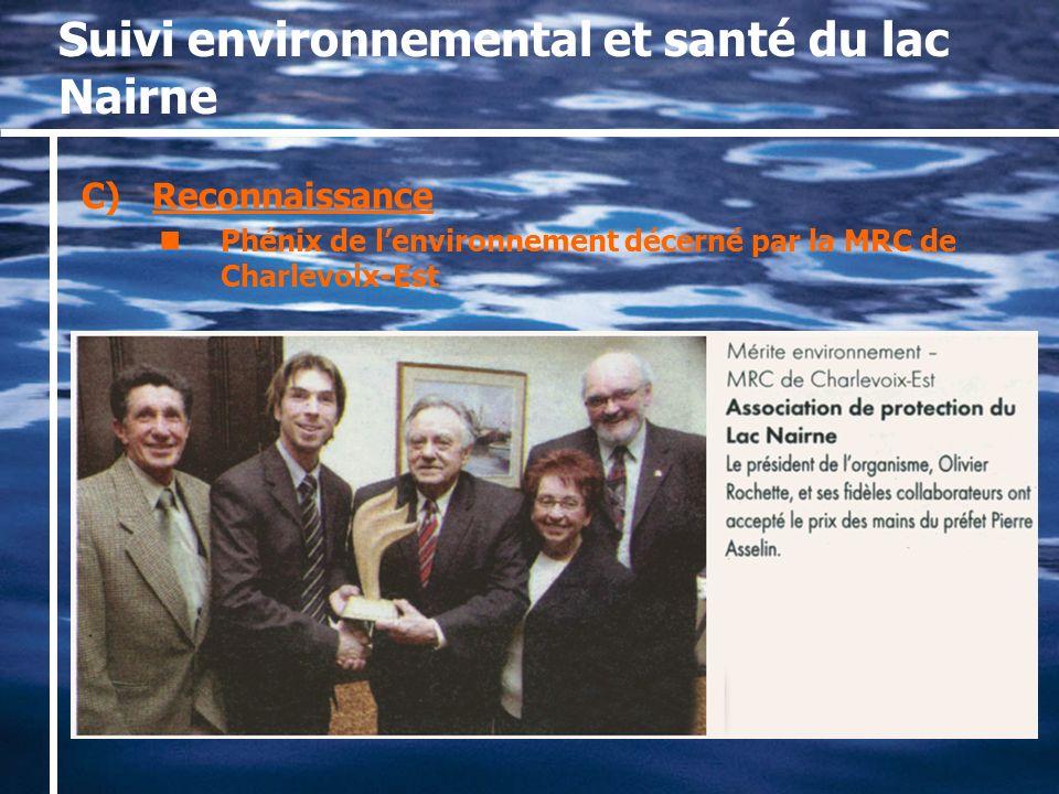 Suivi environnemental et santé du lac Nairne C)Reconnaissance Phénix de lenvironnement décerné par la MRC de Charlevoix-Est