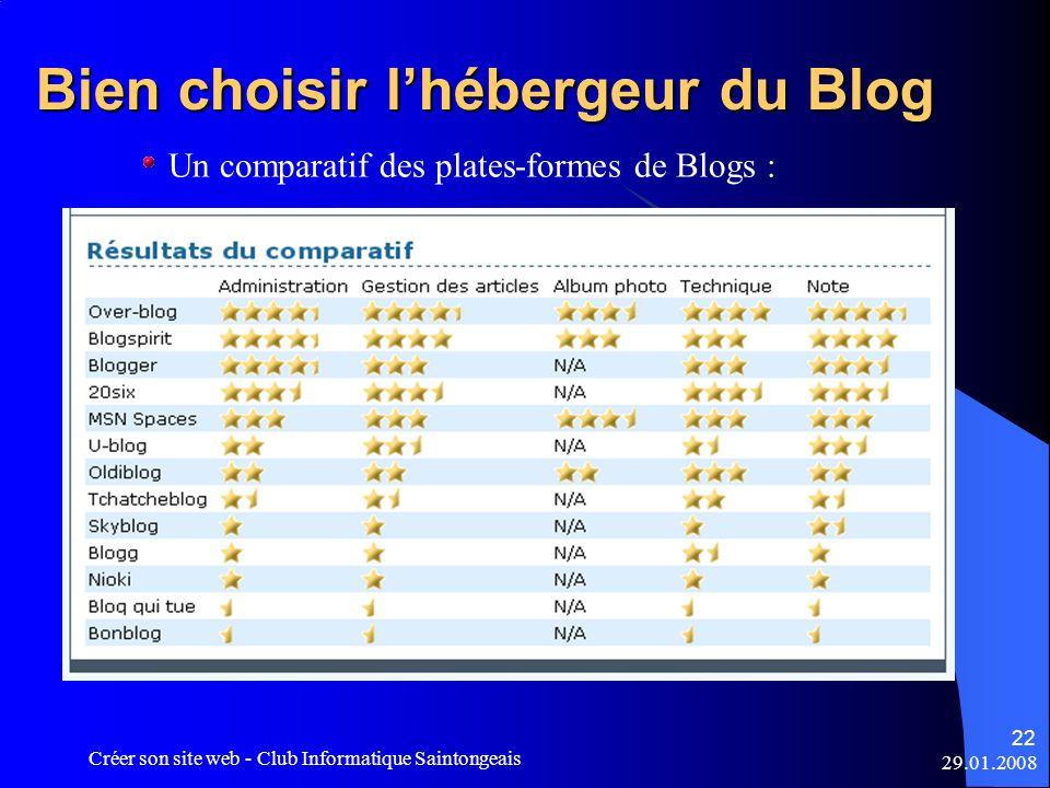 29.01.2008 Créer son site web - Club Informatique Saintongeais 22 Bien choisir lhébergeur du Blog Un comparatif des plates-formes de Blogs :