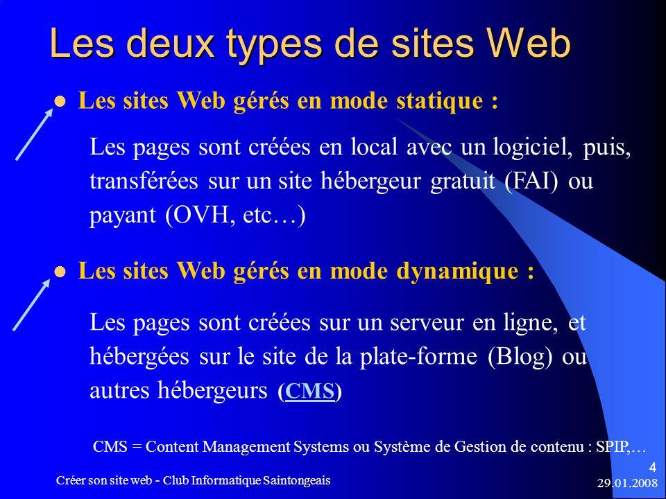 29.01.2008 Créer son site web - Club Informatique Saintongeais 4 Les deux types de sites Web Les sites Web gérés en mode statique : Les pages sont cré