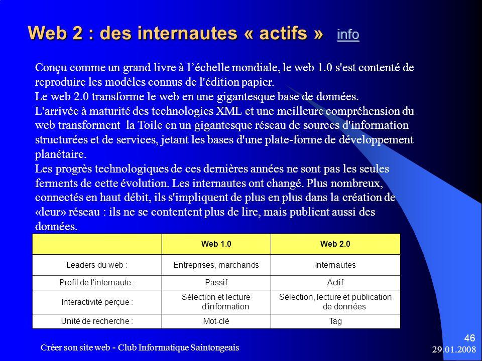 29.01.2008 Créer son site web - Club Informatique Saintongeais 46 Conçu comme un grand livre à léchelle mondiale, le web 1.0 s'est contenté de reprodu