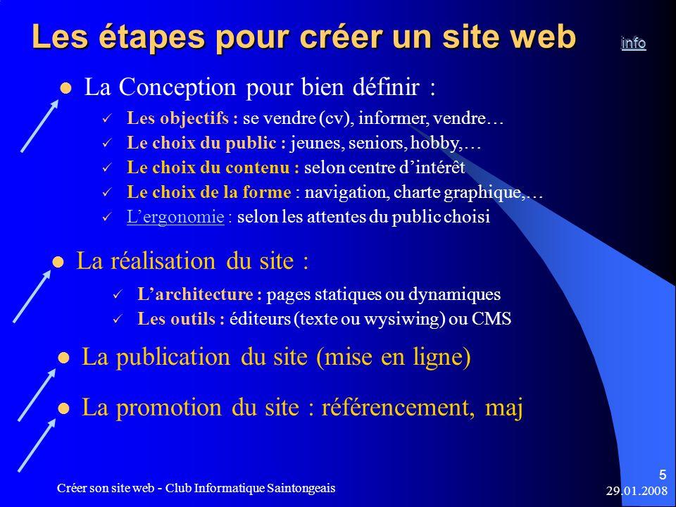 29.01.2008 Créer son site web - Club Informatique Saintongeais 5 La réalisation du site : Les objectifs : se vendre (cv), informer, vendre… Le choix d