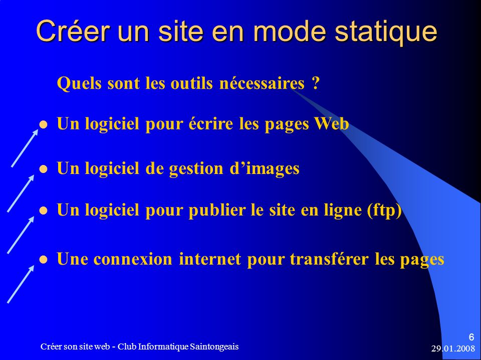29.01.2008 Créer son site web - Club Informatique Saintongeais 7 Créer un site en mode statique Un logiciel pour écrire les pages Web - Un simple éditeur de texte comme le bloc-note peut suffire à pour écrire les pages en langage HTML - Un éditeur générateur de pages web, avec aperçu WYSIWYG, génère les pages en langage HTML - Par exemple : Dreamweaver, FrontPage, etc…etc WYSIWYG = acronyme de la locution anglaise What you see is what you get en français, ce que vous voyez est ce que vous obtenez