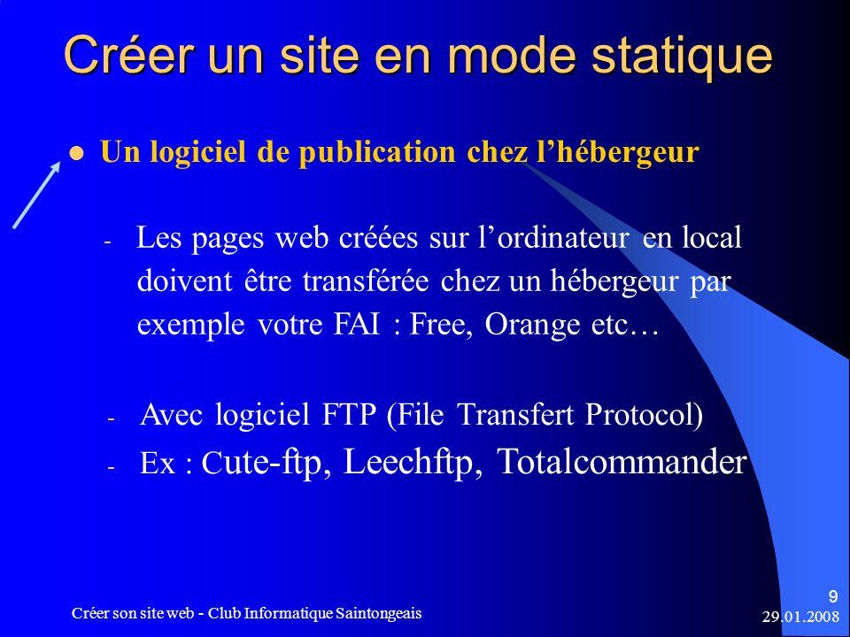 29.01.2008 Créer son site web - Club Informatique Saintongeais 9 Créer un site en mode statique Un logiciel de publication chez lhébergeur - Les pages