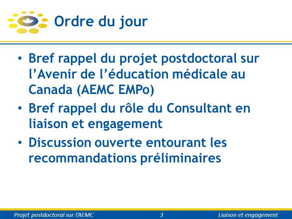 Ordre du jour Bref rappel du projet postdoctoral sur lAvenir de léducation médicale au Canada (AEMC EMPo) Bref rappel du rôle du Consultant en liaison et engagement Discussion ouverte entourant les recommandations préliminaires Projet postdoctoral sur lAEMC3Liaison et engagement