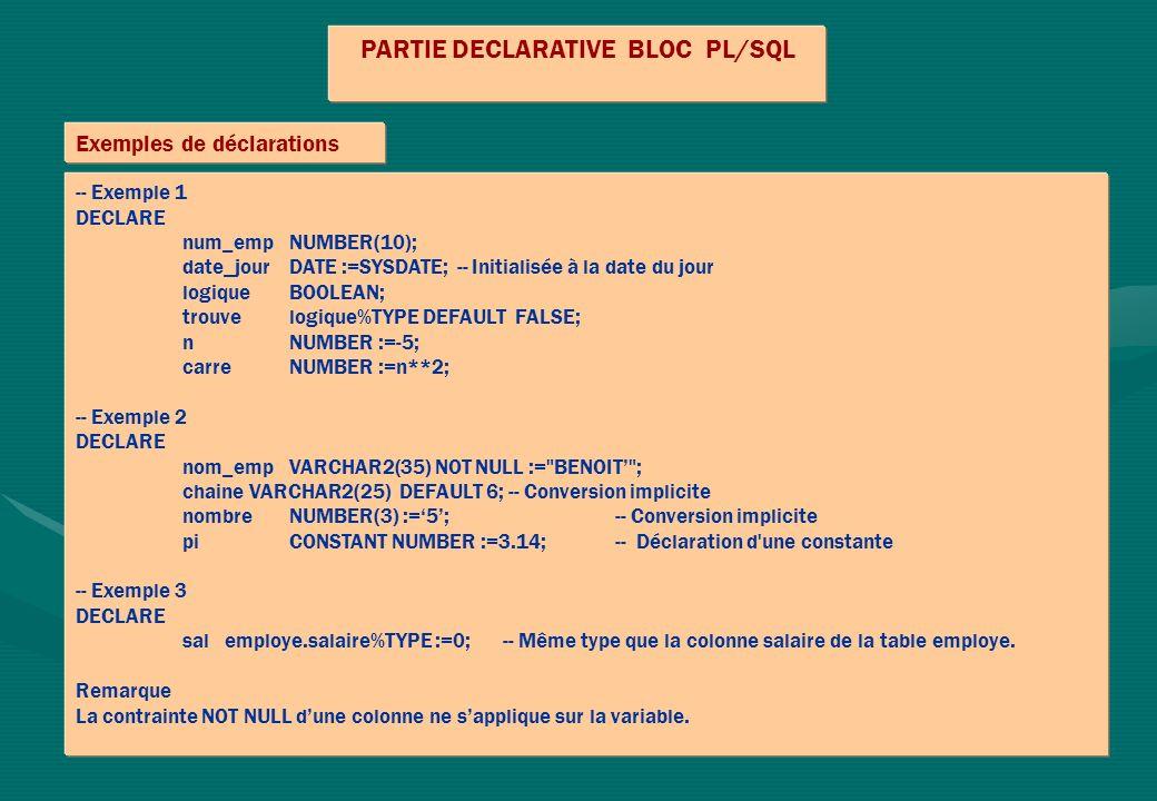 PARTIE DECLARATIVE BLOC PL/SQL Exemples de déclarations -- Exemple 1 DECLARE num_emp NUMBER(10); date_jour DATE :=SYSDATE; -- Initialisée à la date du jour logiqueBOOLEAN; trouve logique%TYPE DEFAULT FALSE; nNUMBER :=-5; carreNUMBER :=n**2; -- Exemple 2 DECLARE nom_empVARCHAR2(35) NOT NULL := BENOIT ; chaine VARCHAR2(25) DEFAULT 6; -- Conversion implicite nombreNUMBER(3) :=5; -- Conversion implicite piCONSTANT NUMBER :=3.14; -- Déclaration d une constante -- Exemple 3 DECLARE sal employe.salaire%TYPE :=0;-- Même type que la colonne salaire de la table employe.