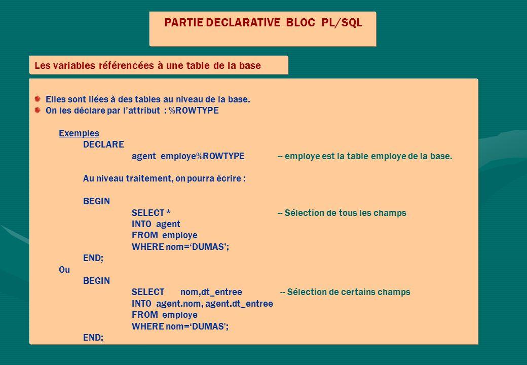 PARTIE DECLARATIVE BLOC PL/SQL Les variables référencées à une table de la base Elles sont liées à des tables au niveau de la base. On les déclare par