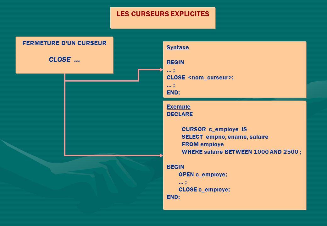 FERMETURE D'UN CURSEUR CLOSE … LES CURSEURS EXPLICITES Syntaxe BEGIN … ; CLOSE ; … ; END; Exemple DECLARE CURSOR c_employe IS SELECT empno, ename, sal