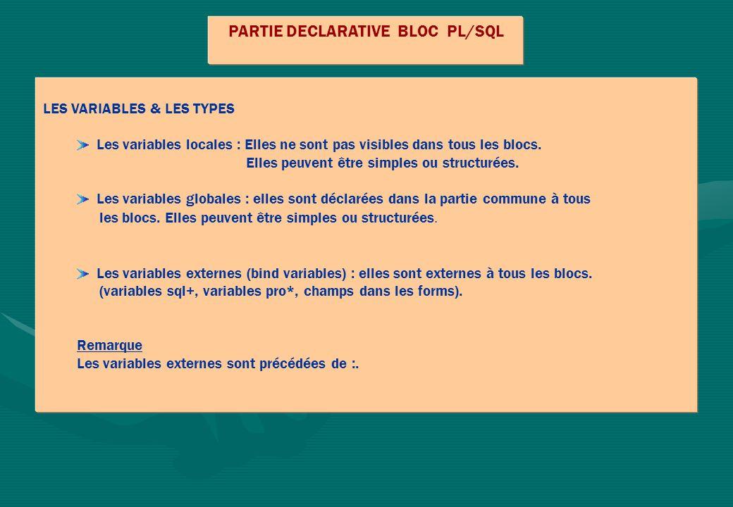 PARTIE DECLARATIVE BLOC PL/SQL LES VARIABLES & LES TYPES Les variables locales : Elles ne sont pas visibles dans tous les blocs. Elles peuvent être si