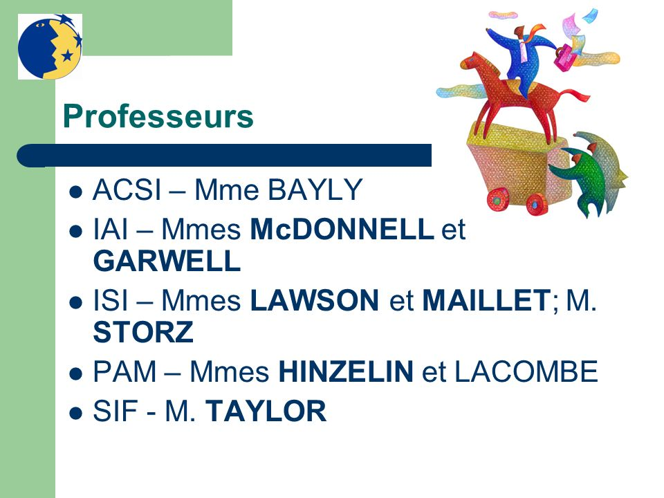 Professeurs ACSI – Mme BAYLY IAI – Mmes McDONNELL et GARWELL ISI – Mmes LAWSON et MAILLET; M. STORZ PAM – Mmes HINZELIN et LACOMBE SIF - M. TAYLOR