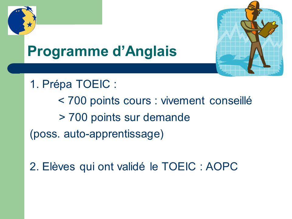 Programme dAnglais 1. Prépa TOEIC : < 700 points cours : vivement conseillé > 700 points sur demande (poss. auto-apprentissage) 2. Elèves qui ont vali