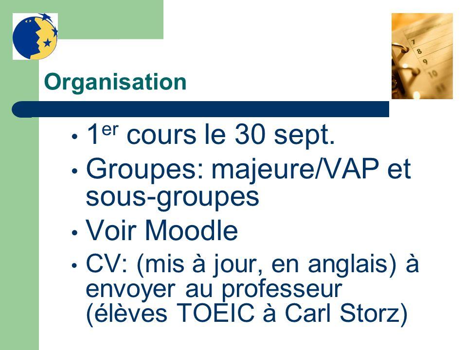 Organisation 1 er cours le 30 sept. Groupes: majeure/VAP et sous-groupes Voir Moodle CV: (mis à jour, en anglais) à envoyer au professeur (élèves TOEI