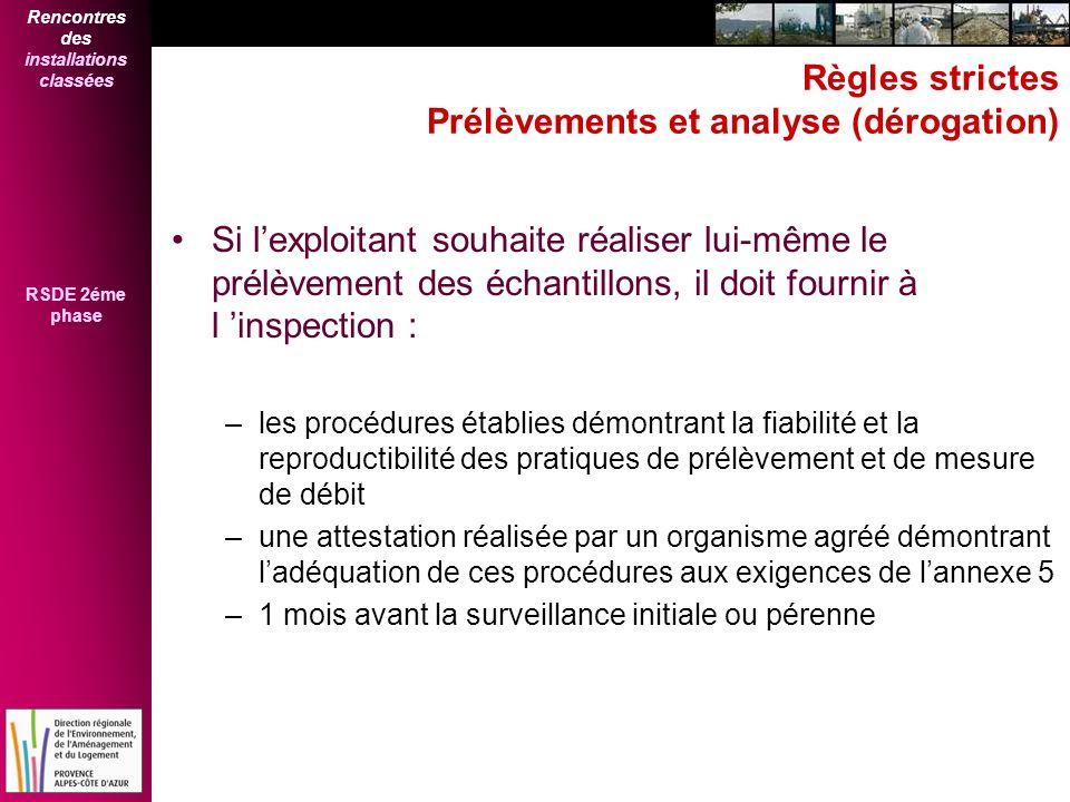 Rencontres des installations classées RSDE 2éme phase Règles strictes Prélèvements et analyse (dérogation) Si lexploitant souhaite réaliser lui-même l