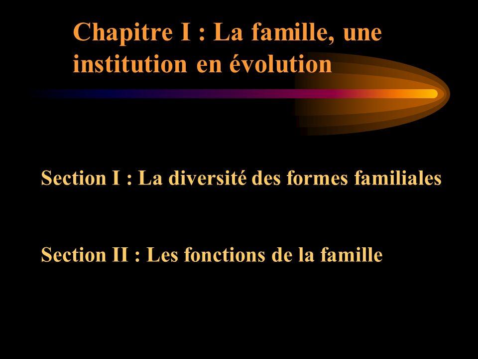 Chapitre I : La famille, une institution en évolution Section I : La diversité des formes familiales Section II : Les fonctions de la famille