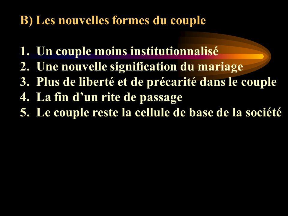 B) Les nouvelles formes du couple 1.Un couple moins institutionnalisé 2.Une nouvelle signification du mariage 3.Plus de liberté et de précarité dans l