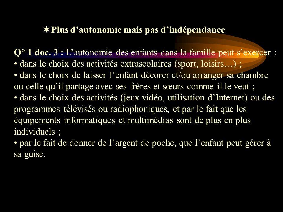 Plus dautonomie mais pas dindépendance Q° 1 doc. 3 : Lautonomie des enfants dans la famille peut sexercer : dans le choix des activités extrascolaires