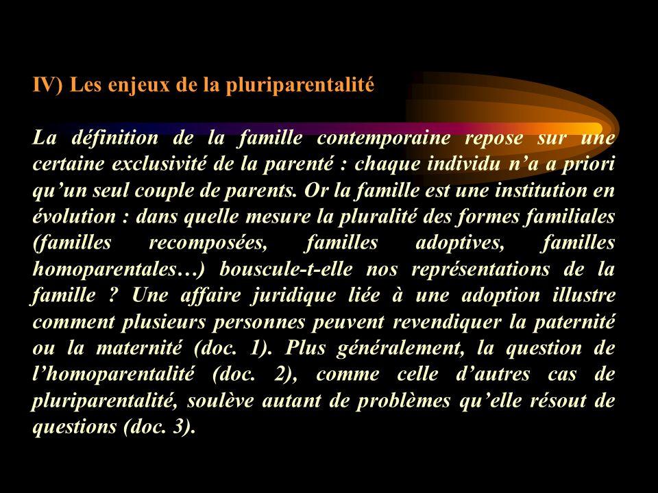 IV) Les enjeux de la pluriparentalité La définition de la famille contemporaine repose sur une certaine exclusivité de la parenté : chaque individu na