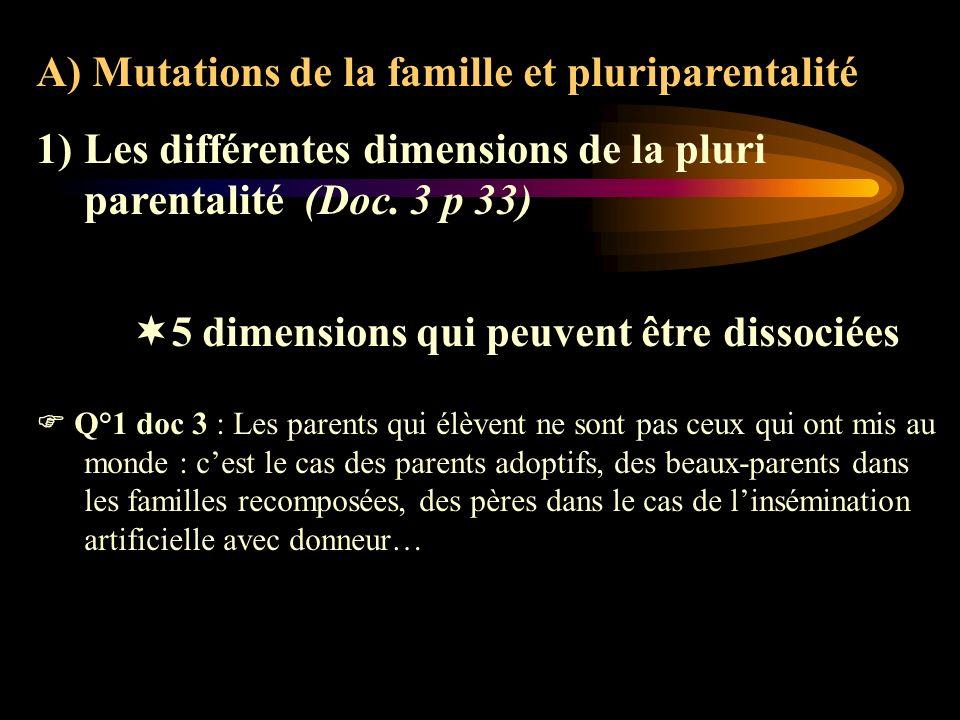 A) Mutations de la famille et pluriparentalité 1)Les différentes dimensions de la pluri parentalité (Doc. 3 p 33) 5 dimensions qui peuvent être dissoc
