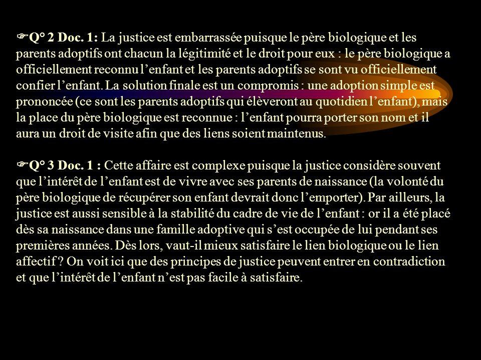 Q° 2 Doc. 1: La justice est embarrassée puisque le père biologique et les parents adoptifs ont chacun la légitimité et le droit pour eux : le père bio