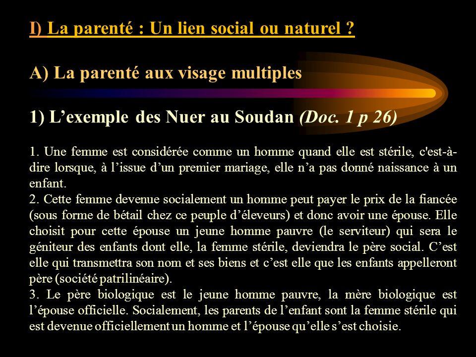 I) La parenté : Un lien social ou naturel ? A) La parenté aux visage multiples 1) Lexemple des Nuer au Soudan (Doc. 1 p 26) 1. Une femme est considéré